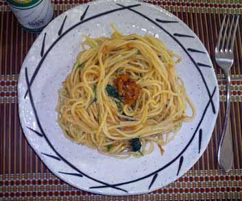 えのきだけ茶漬けと水菜のスパゲティ